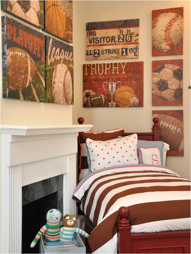 Boys sports themed bedroom