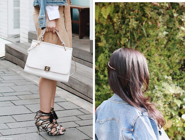 Japanese Fashion blogger 日本人ファッションブロガー 0416今日のコーデ、Gジャン、ホワイトシャツ、ラップスカート、レースアップサンダル、ザラ ホワイトハンドバッグ、ゴールドヘアコーム