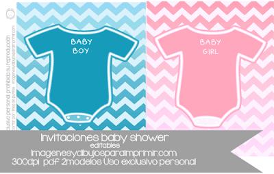 Tarjetas de baby shower para imprimir y editar