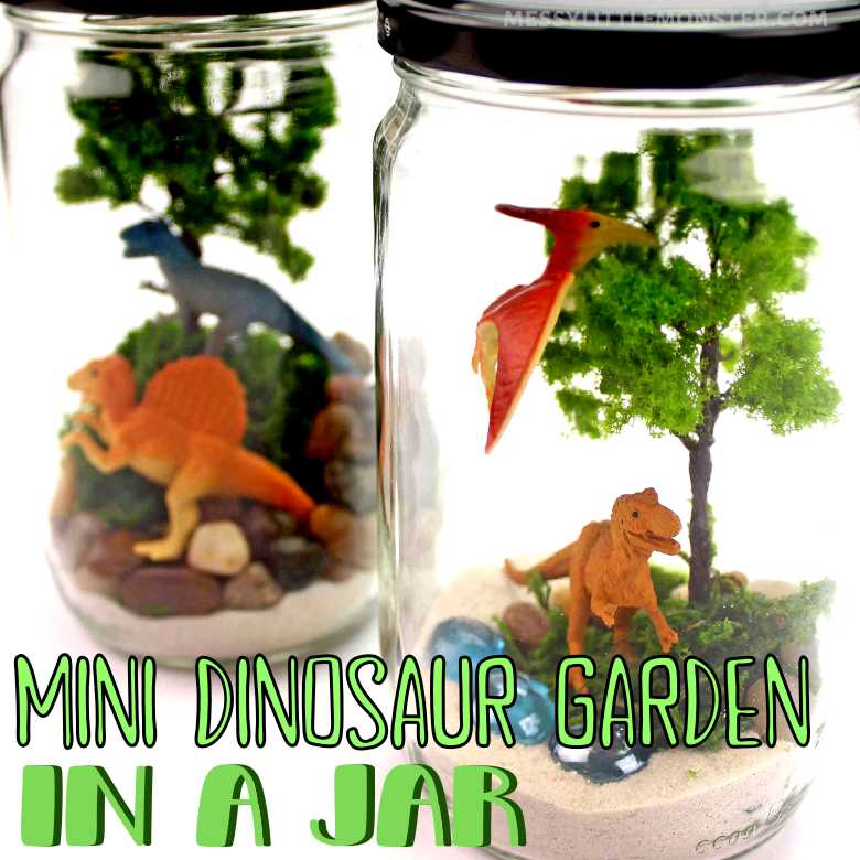 Mini dinosaur garden in a jar