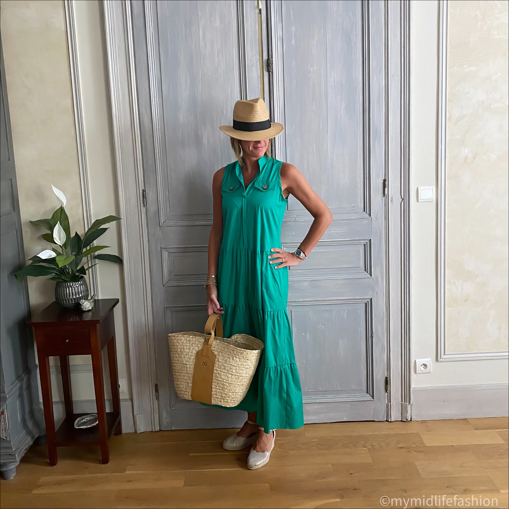 my midlife fashion, h and m straw Panama hat, marc cain cotton maxi dress, rae feather monogram grace basket, Carl Scarpa Brittany beige metallic espadrilles