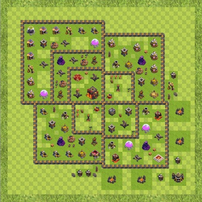 War Base Town Hall Level 10 By Tong Zhou (2 TH 10 Layout)