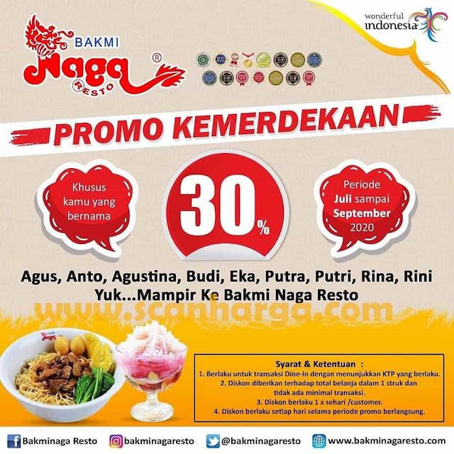 Bakmi Naga Resto Promo Kemerdekaan Spesial Diskon 30% Periode Juli - September 2020