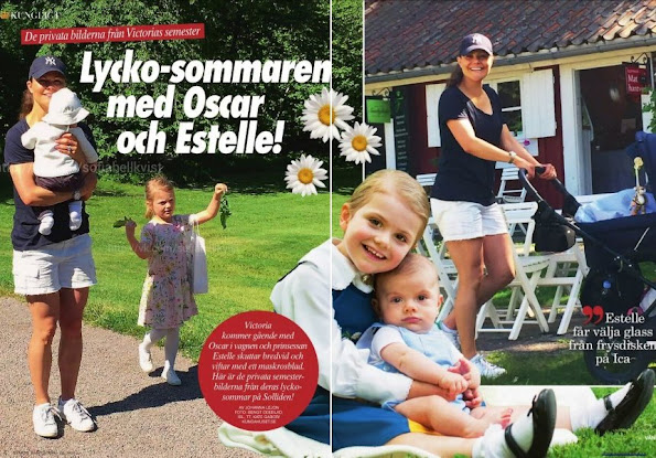 Crown Princess Victoria, Princess Estelle and Prince Oscar of Sweden during the summer holiday at the royal summer residence Solliden in the island of Öland.