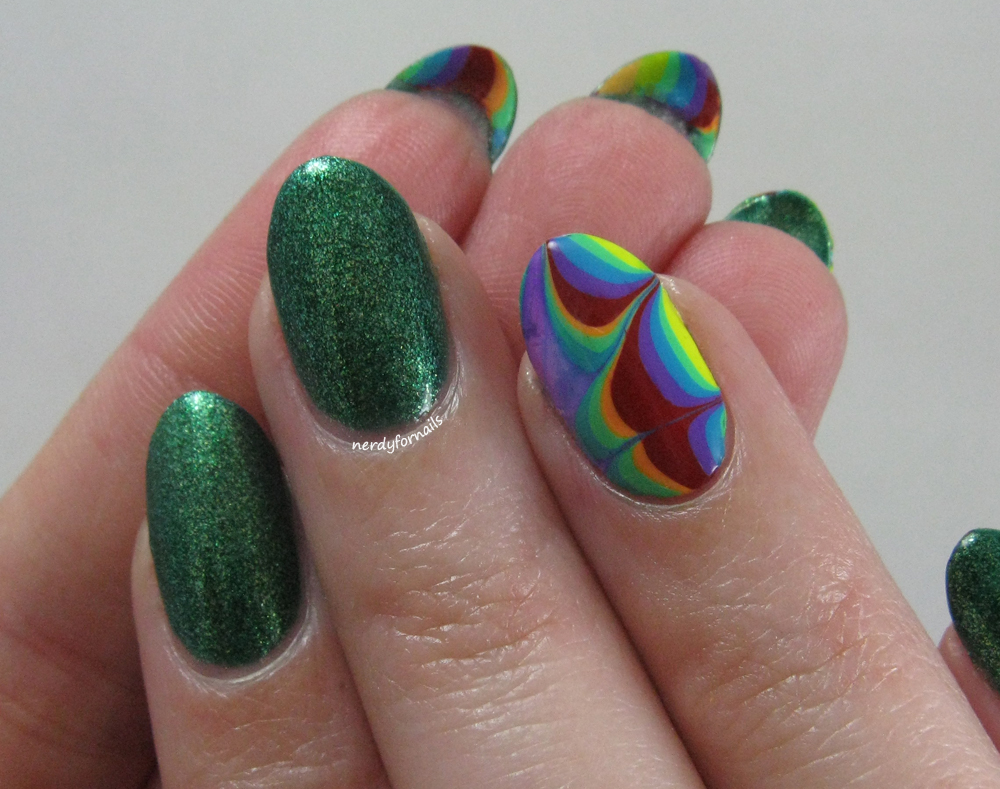 Nerdy for nails seven days of st patricks rainbow water marble st patricks day rainbow water marble nail art with zoya ivanka prinsesfo Image collections