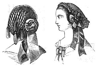 Black velvet hair net with tassels, Godey's 1861.
