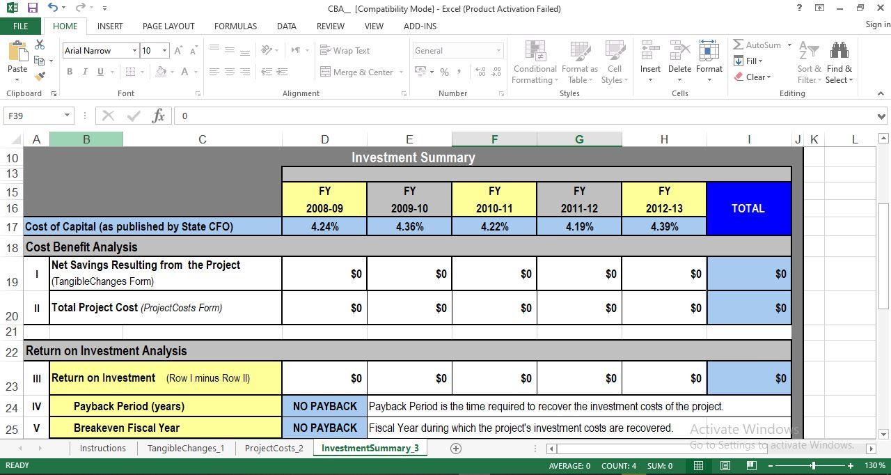 Investment Summary worksheet
