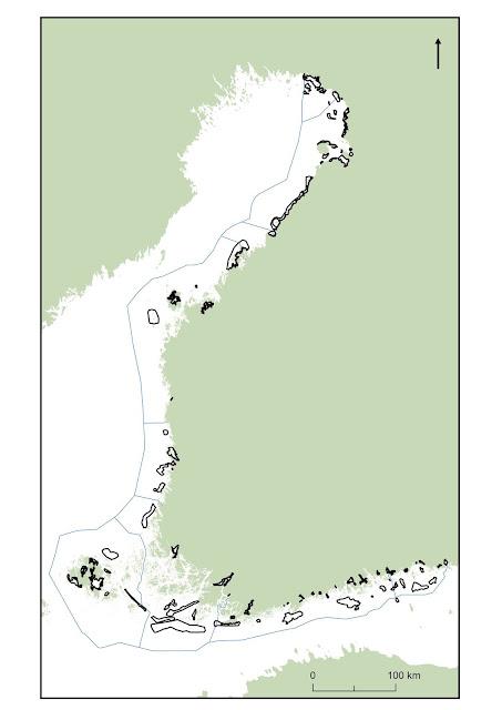 Suomen kartta, johon on piirretty Suomen ekologisesti merkittävät vedenalaiset meriluontoalueet