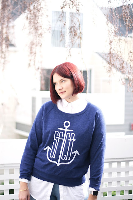 printed anchor sweater, San Francisco based company, fashion
