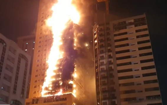 Video: 48-storey building gutted by fire in UAE.