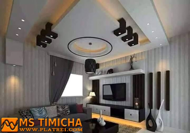 Salon decor design decoration platre plafond for Decoration platre salon