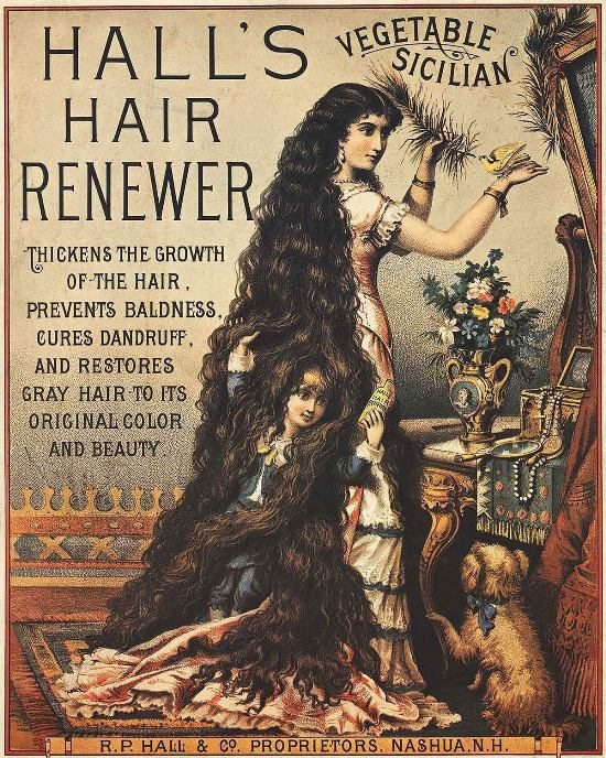 """Vintage Ad: Hall's Vegetable Sicilian Hair Renewer: """"Thickens the growth of the hair, prevents baldness, cures dandruff, and restores gray hair to its original color and beauty."""""""