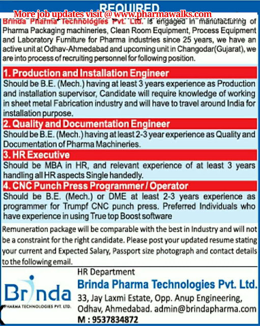 Urgent Job Openings for Production & Installation Engineer / Quality & Documentation Engineer / HR Executive / Operators @ Brinda Pharma Technologies Pvt. Ltd