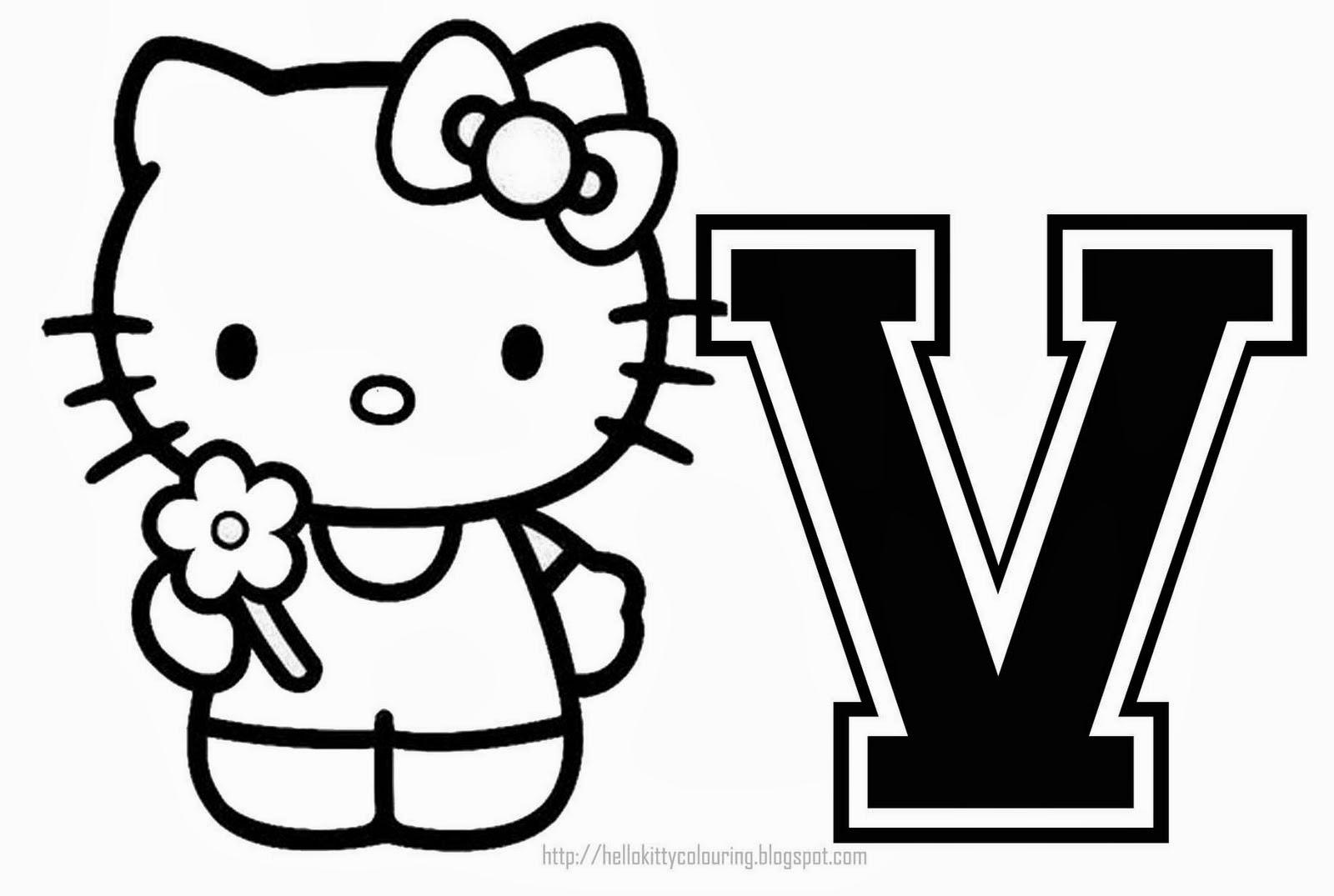 Alfabeto de Hello Kitty para Colorear.   Oh my Alfabetos!