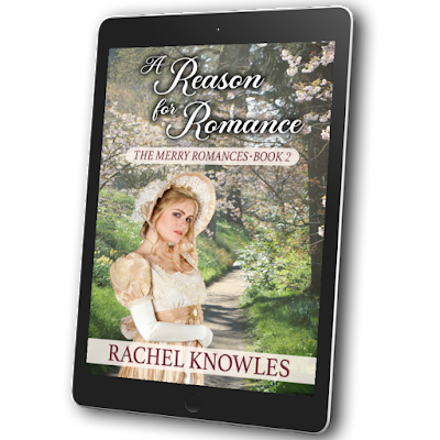 Cover for A Reason for Romance by Rachel Knowles on a tablet