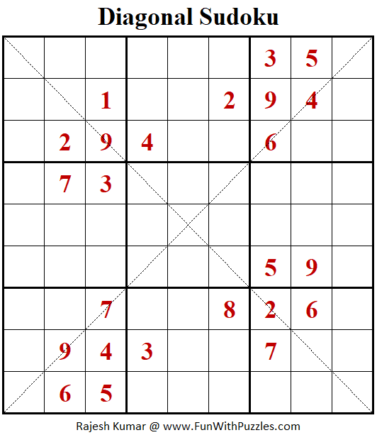 Diagonal Sudoku Puzzle (Fun With Sudoku #392)