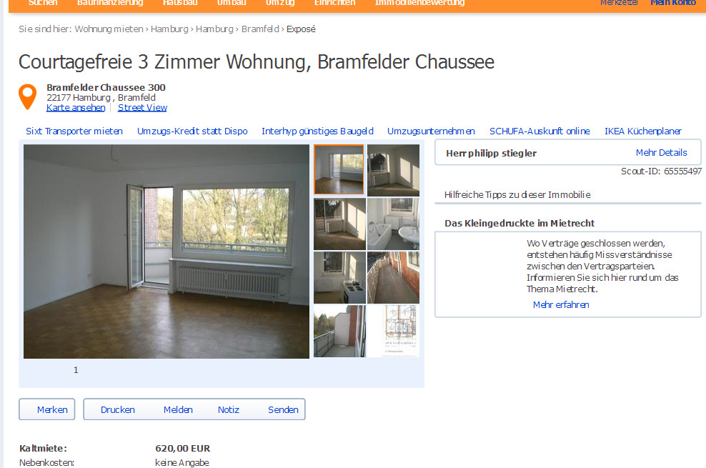 courtagefreie 3 zimmer wohnung bramfelder chaussee kaltmiete 620. Black Bedroom Furniture Sets. Home Design Ideas