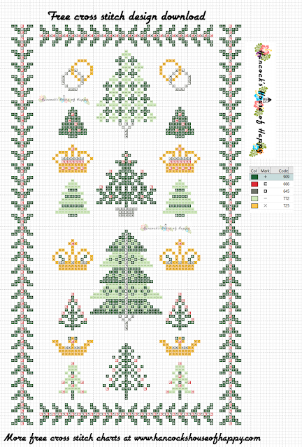 Traditional Cross Stitch Christmas Tree Sampler Pattern Free to Download.