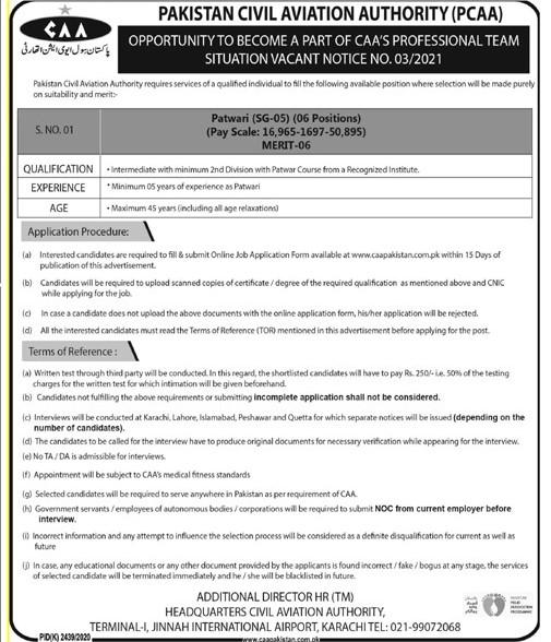 PCAA Jobs 2021 - PCAA Latest Jobs 2021 - PCAA New Jobs 2021 - PCAA Careers - Pakistan Civil Aviation Authority Jobs 2021 - CAA Pakistan Jobs 2021 - New Jobs in Civil Aviation Authority - Patwari Jobs 2021