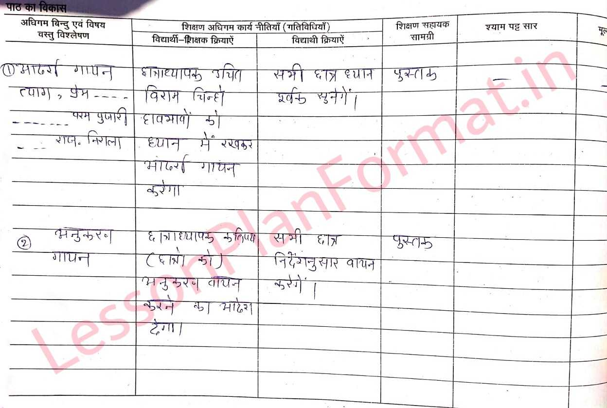 Deled Hindi Lesson Plan Class 3 | Nirala Rajasthan