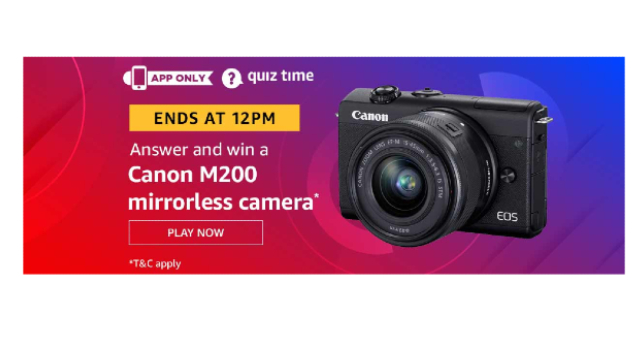 Amazon Quiz Answers Today 10 December win - Canon M200 mirrorless camera