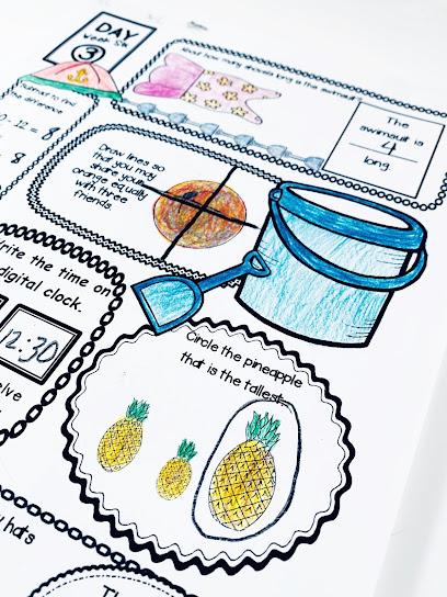 summer slide math review sheet