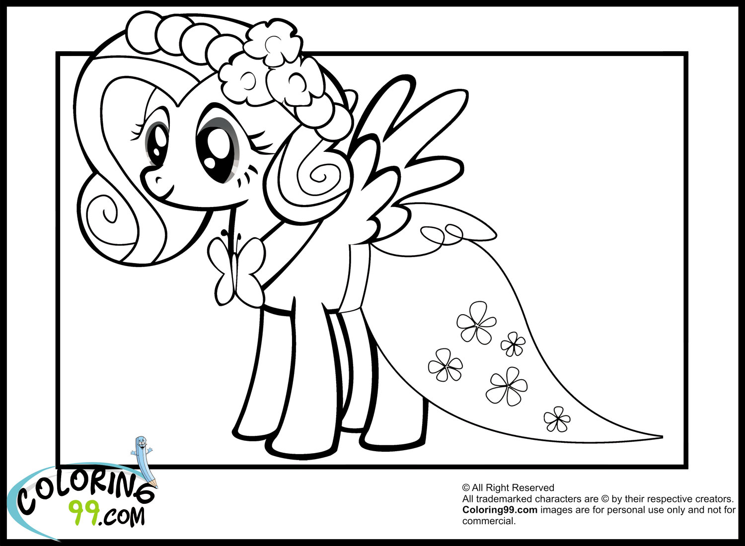 My little pony royal wedding coloring pages for My little pony fluttershy coloring pages