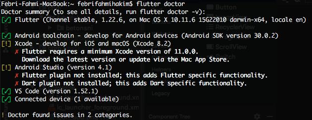 Flutter doctor tidak bisa membaca bahwa flutter dan dart plugin sudah diinstall di Android Studio