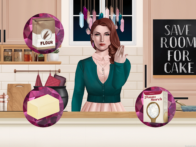 A screenshot of the game Bewitching Baking. A red headed woman is behind a counter gesturing hands in a spell. Game buttons looking like gems are in the forefront with baking ingredients.