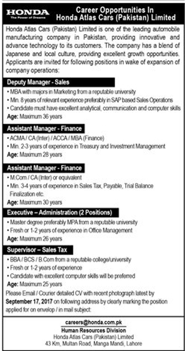 Jobs In Honda Atlas Cars Pakistan Limited Lahore Sep 2017