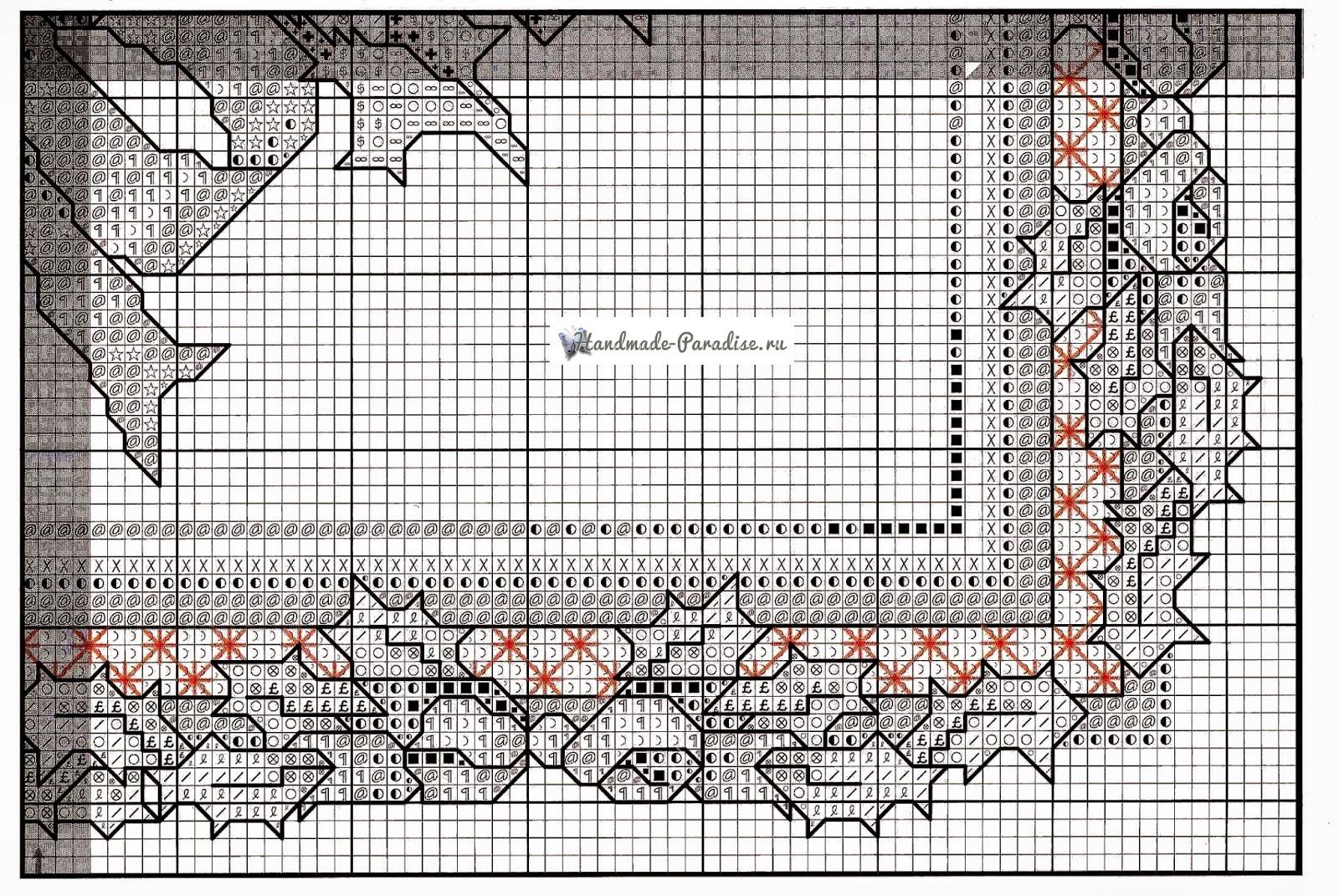 Вышивка крестом. Подушка с рождественскими звездами (5)