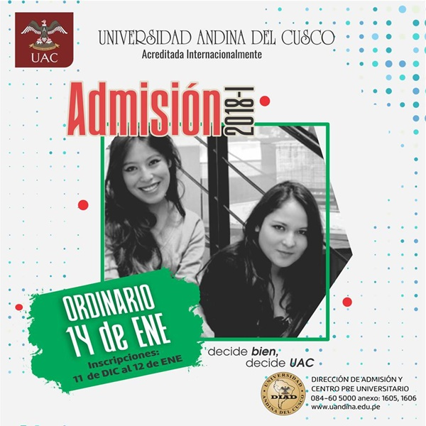 Resultados Examen de Admisión Universidad Andina del Cusco 14 Enero 2018