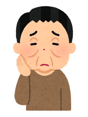顔のむくみ・たるみを気にする人のイラスト(男性)