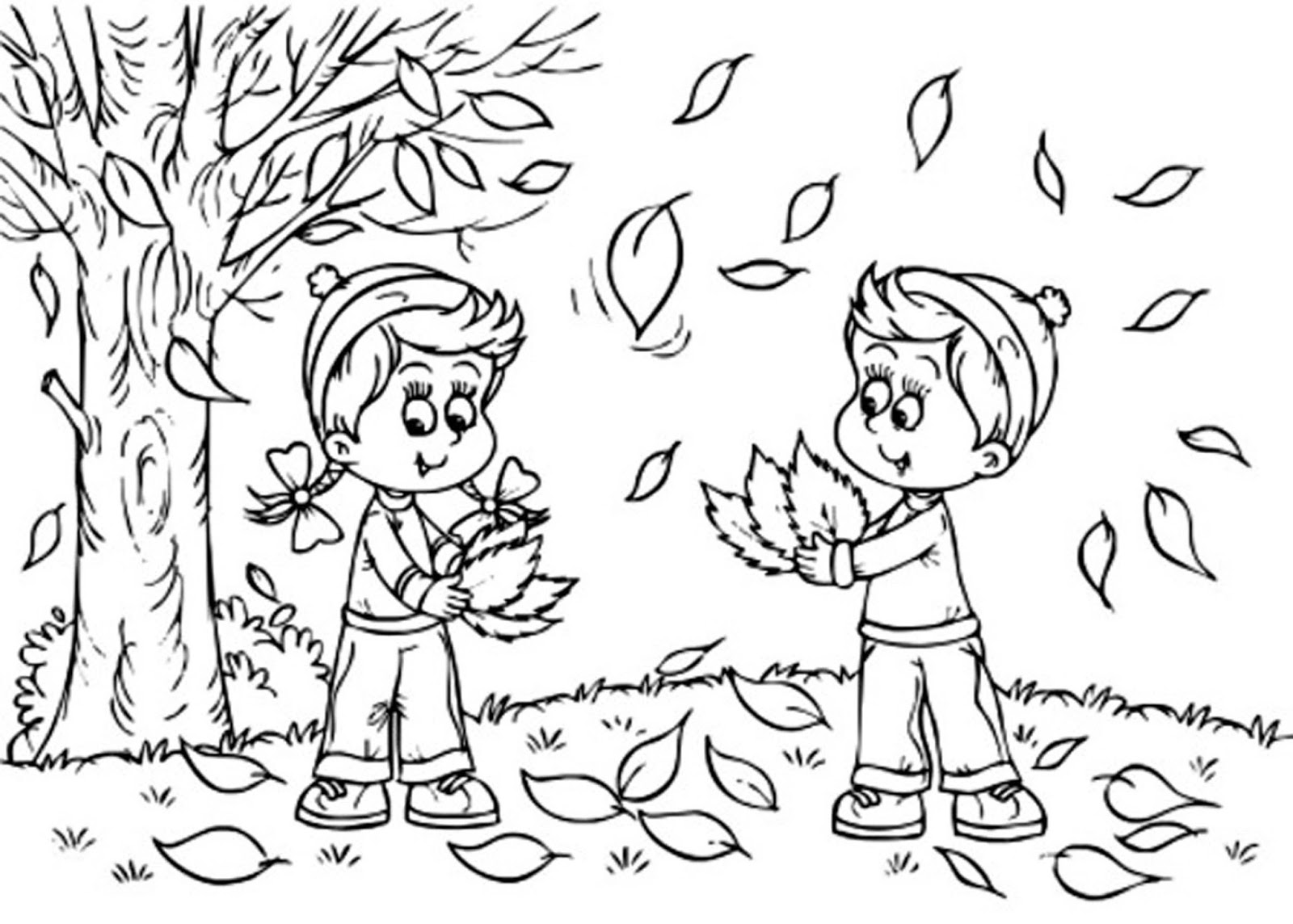 fall leaves coloring pages kindergarten - photo#12