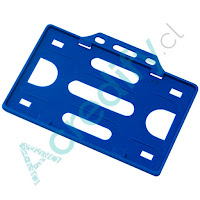 Porta credencial simple azul horizontal