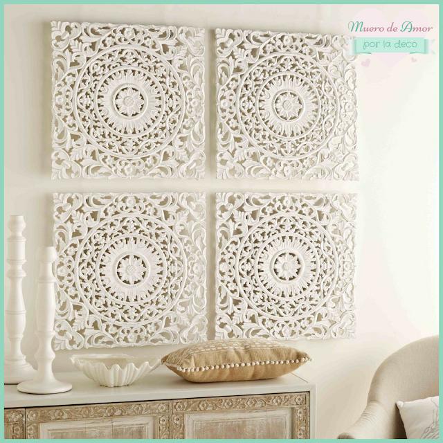 Decoración en blanco con cuadros de madera calados-1