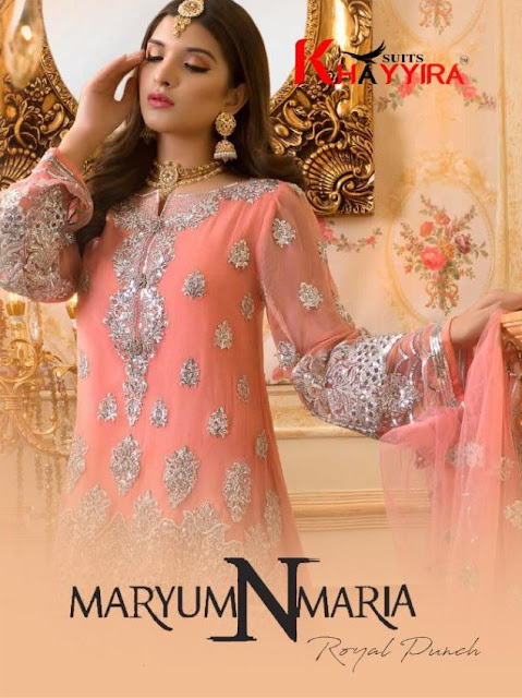 Khayyira Mariyam N Maria Net embroidered pakistani Suits