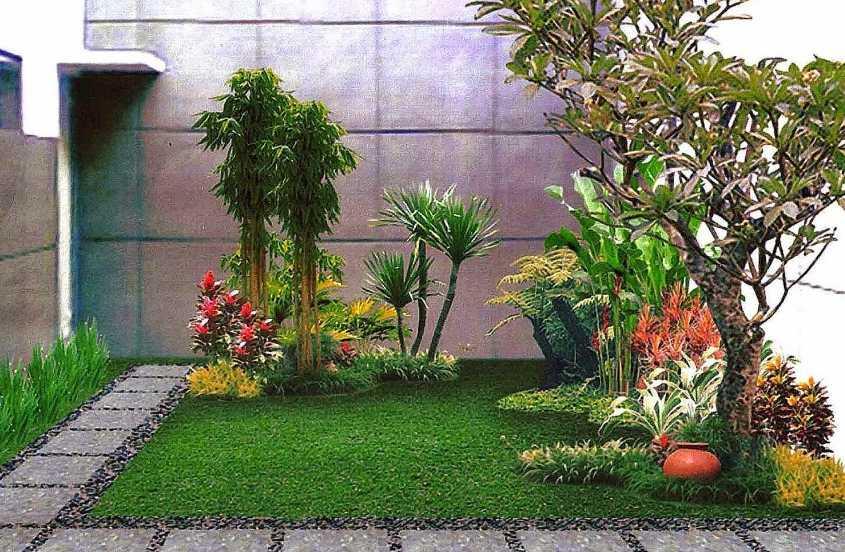 Desain Taman Belakang Rumah Minimalis dengan Bunga dan Pohon Hijau yang Cantik dan Dinding Batu Alam Cantik