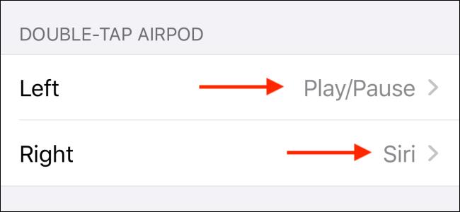 انقر على اليسار أو اليمين لتغيير إيماءة النقر المزدوج على AirPods