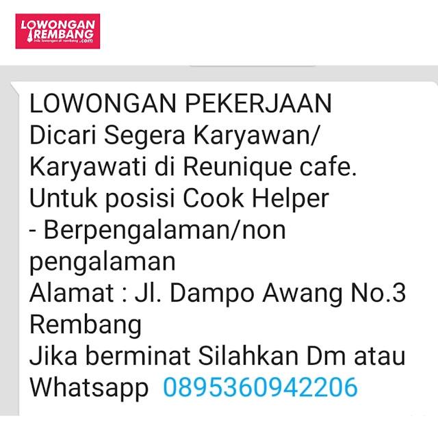 Lowongan Kerja Cook Helper Reunique Cafe Rembang Tanpa Syarat Pendidikan