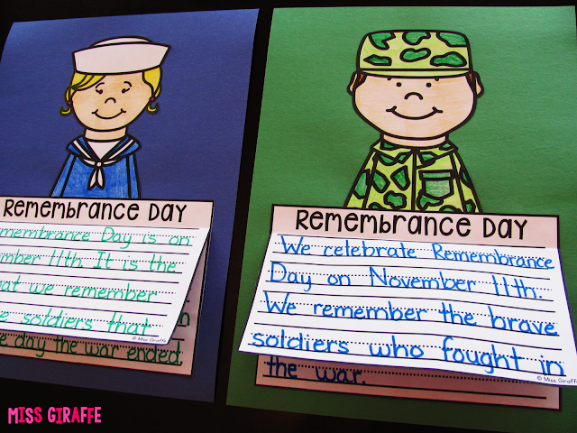 Remembrance Day writing activities that are great no prep crafts - Canadian and Australian flags and also no flag options!
