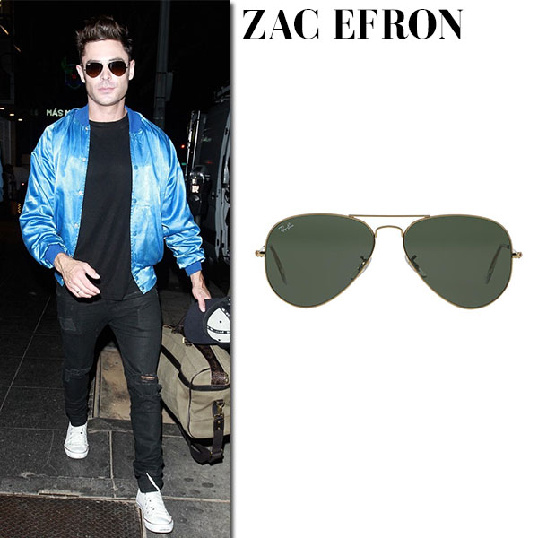 Zac Efron with classic aviator sunglasses ray ban