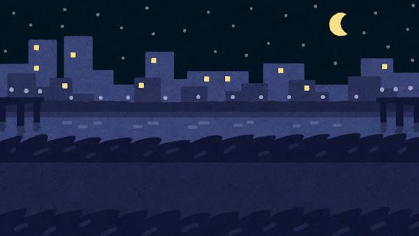 夜の土手のイラスト(背景素材)