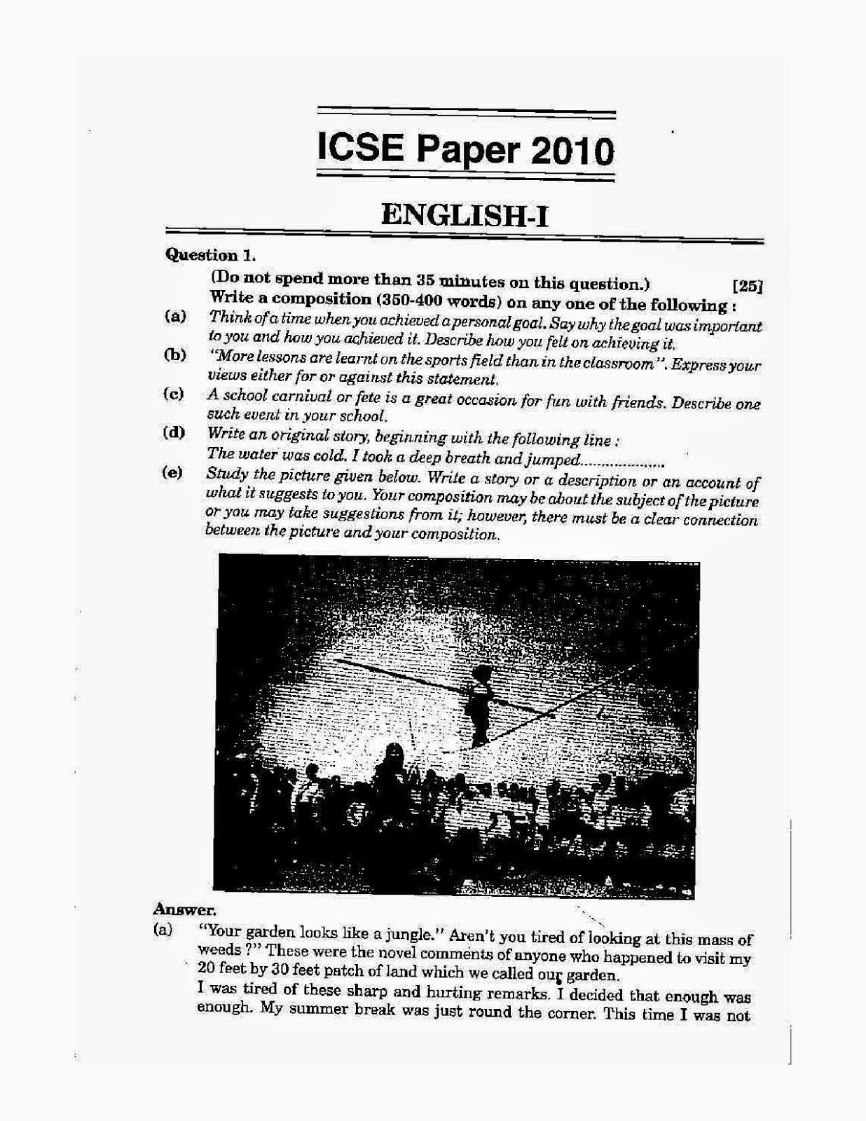 English Grammar Solved Question Papers For Class 10 Icse