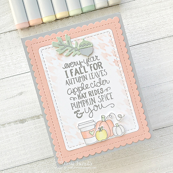 Pumpkin Spice Card by Amy Tsuruta | Fall-ing for You Stamp Set, Frames & Flags Die Set, Autumn Leaves Die Set, Houndstooth Stencil and Newton Dreams of New York Stamp Set by Newton's Nook Designs #newtonsnook #handmade