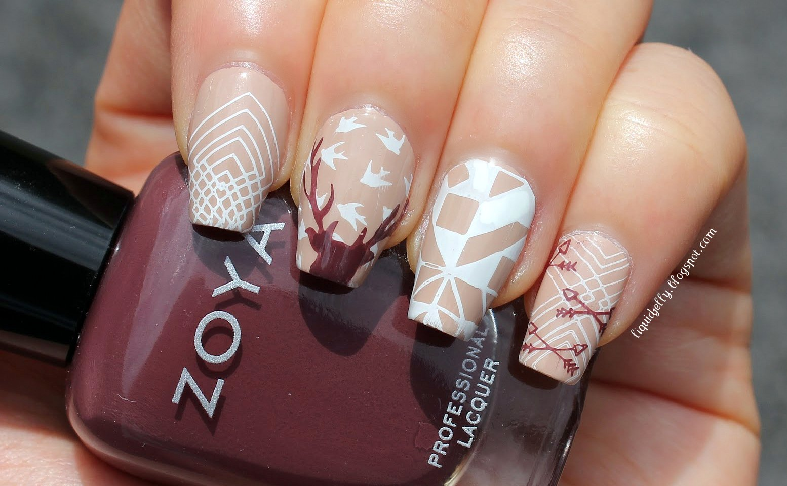 Liquid Jelly Nail Art Oh Deer Stamped With Moyou London