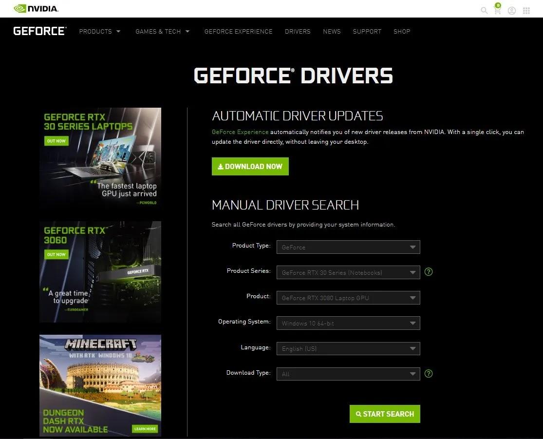 دليل تحديث برامج تشغيل Nvidia