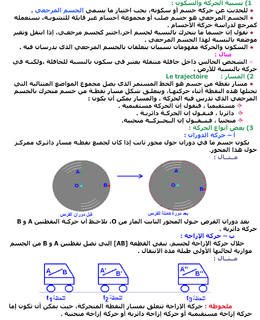 درس الحركة والسكون الثالثة اعدادي PDF