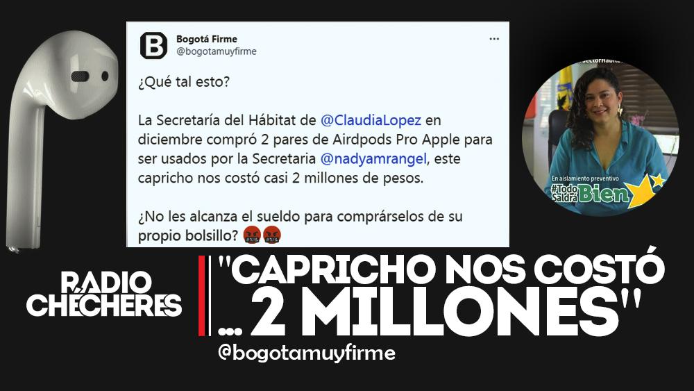 US$ 554, compra de AirPods para Alcaldía de Bogotá en  crisis económica por pandemia