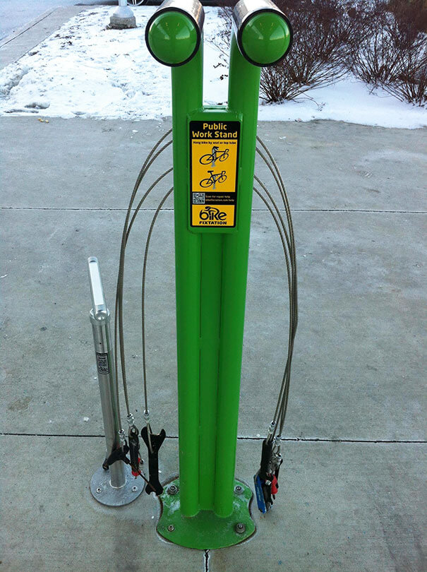 30 Extremely Intelligent School & University Ideas That Will Make You Jealous - This Just Got Installed At My School. A Public Work Bench For Your Bicycle Compete With Tools And A QR Code For Common Repair Help